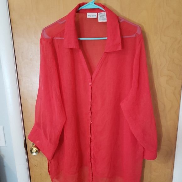 White Stag Tops - Sheet red button down blouse